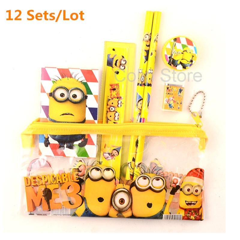 12 sets/lot Minion pencil case school pencil case cute cartoon Kids school supplies stationery set for boys& girls(China (Mainland))