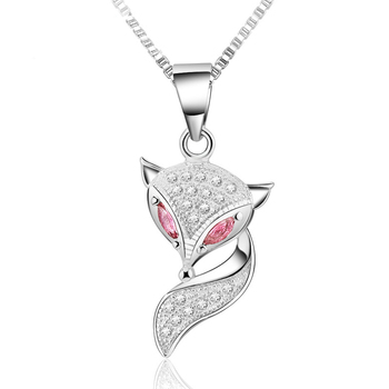 2014 New 100% 925 Sterling Silver Jewelry Lovely Fox Pendant Necklace Fine Jewelry Top Quality Christmas GIft