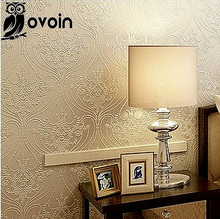 Non Woven Vintage Cream Gilt European Classic Flocking Non Woven  French Style Wallpaper Wall paper Roll, WP008(China (Mainland))