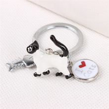 New Arrival I Love white cats and Fish Bone Lovely Charm Pendant Silver Metal Car Key Ring Keychain Birthday Gift Accessories(China (Mainland))