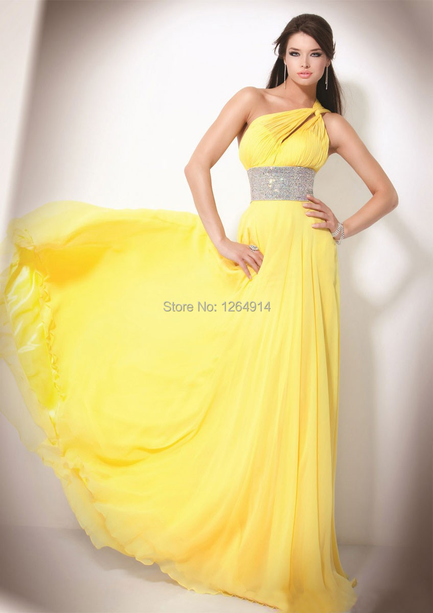 Elegant long prom dresses 2015 a line strapless neck one for Yellow dresses for weddings