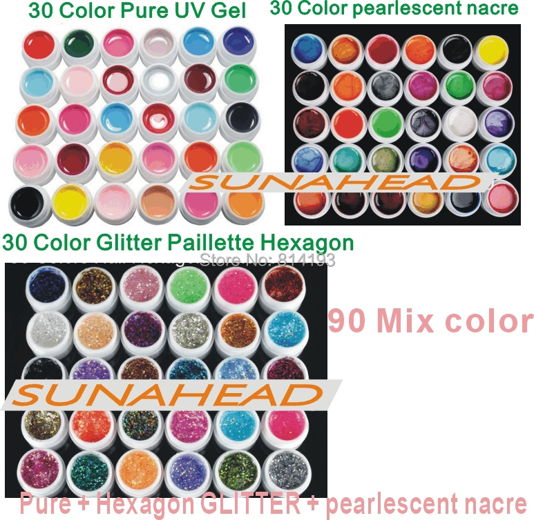 2014 new 90 Mix color nail art uv gel polish , Pure + pearlescent nacre Glitter Paillette Hexagon colors tools Solid Builder