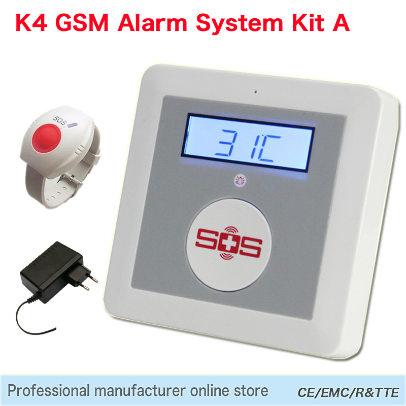 GSM Alarm SOS Call 850/900/1800/1900Mhz Personal Home Alarm Security System Big SOS Button for Elder Care Emergency Call SMS K4A(China (Mainland))