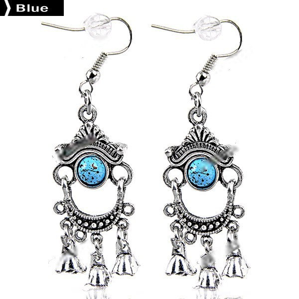 Molodov Pair of Antique Silver Ethnic Style Earrings Eardrops Pendant Jewelry with Embedded Beads for Woman Lady NAF-211990(China (Mainland))
