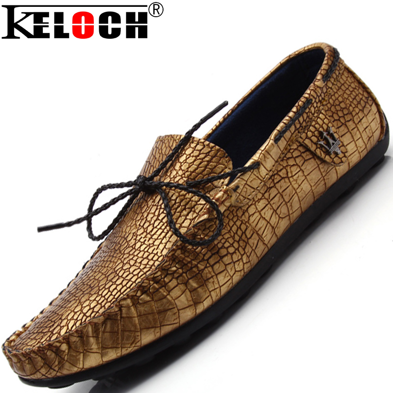 Keloch Mens Shoes Casual 2016 Fashion Men Shoes Crocodile Leather Men Loafers Moccasins Slip On Men'S Flats Male Shoes