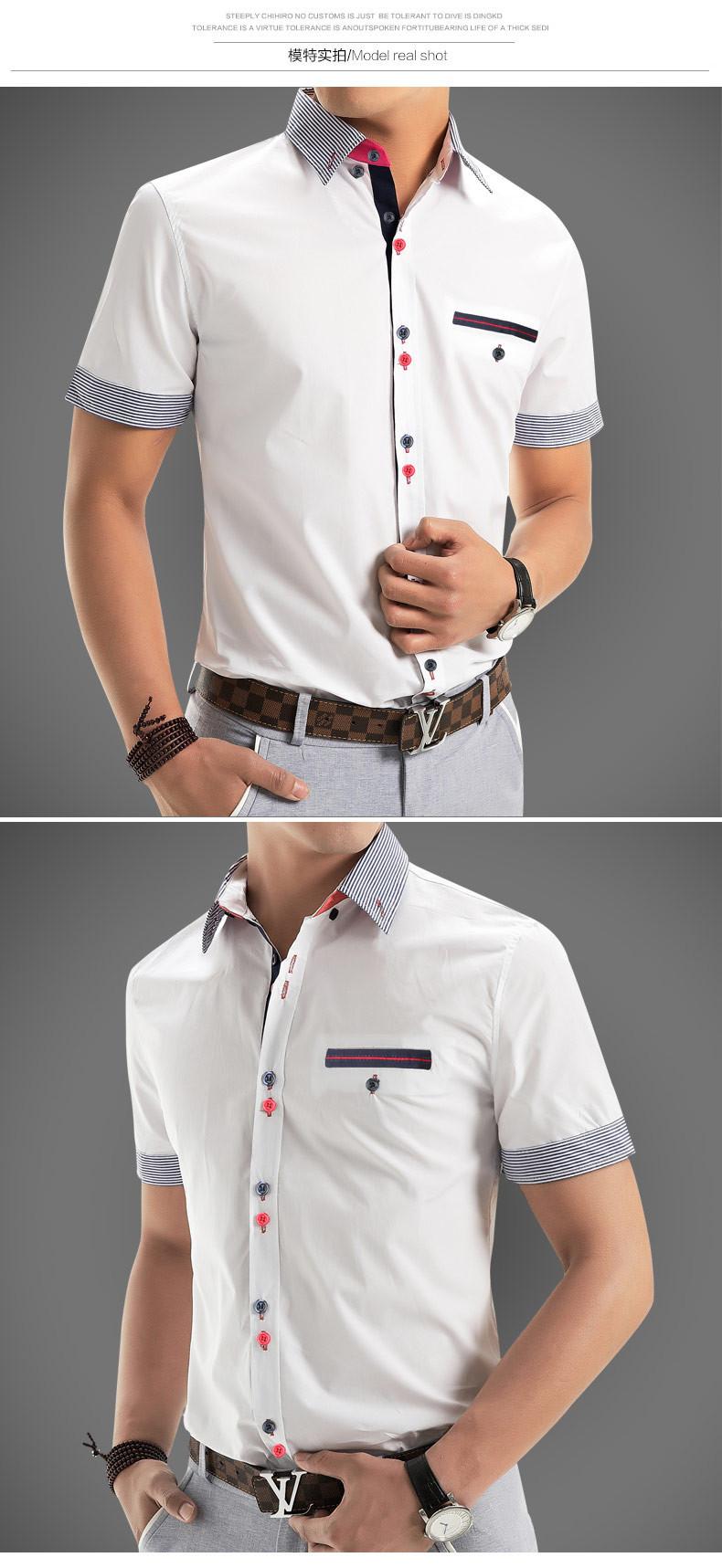 2015 Men Shirt New Brand Shirts Short Sleeve Casual Shirt Men Slim Fit Brand Design Formal Shirt Camisa Social Chemise Homme2