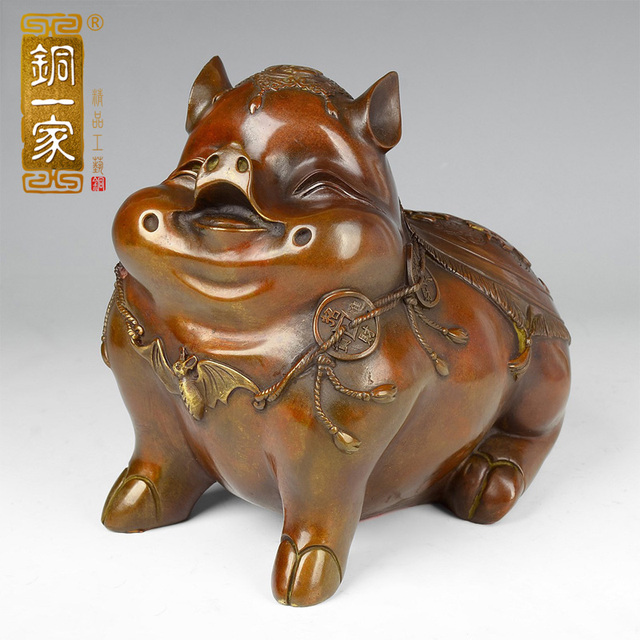a copper copper pig defends by angle zhaocai decoration decoration feng shui fu pighead home furnishing angle feng shui