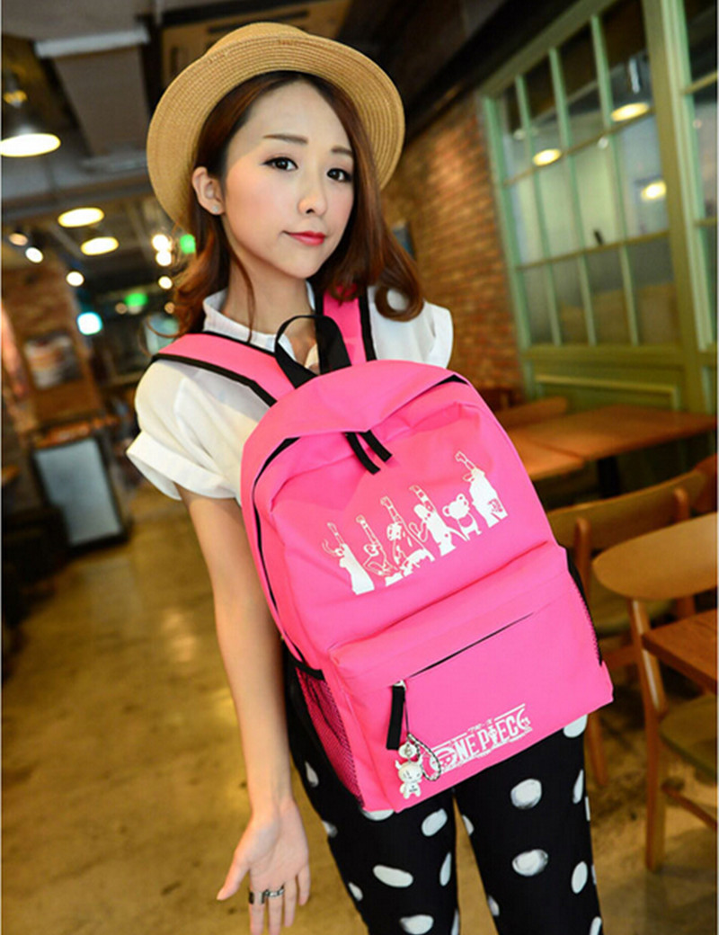 Fashion Anime Straw Hat Gang Hands Up Logo Rose Red Shoulders Bags One Piece Schoolbag Leisure Backpack19 inch LC008(China (Mainland))