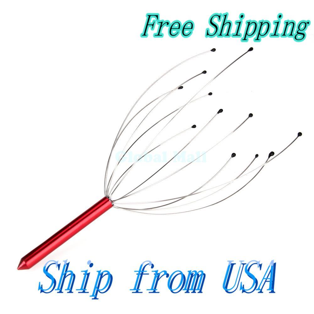 Ship From USA Head Neck Scalp Massager Massage Stress Release Red H00054(China (Mainland))