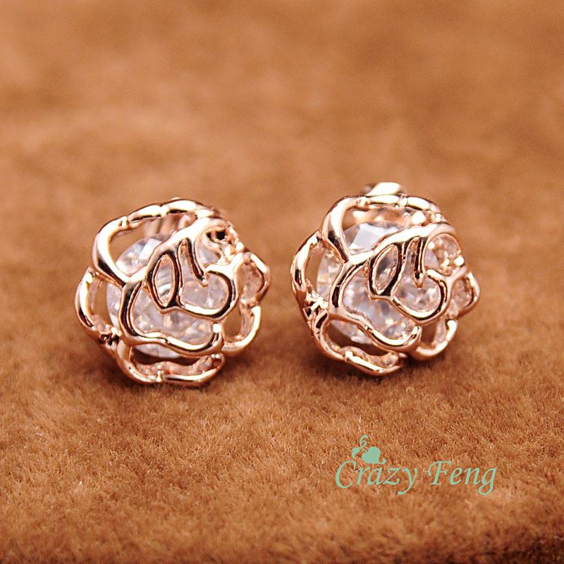 Free shipping Wholesale 1 Pairs Trendy Women/Girl's 18k Yellow Gold Plated CZ Diamond Rose Pierced Stud Earrings Jewelry Gift(China (Mainland))