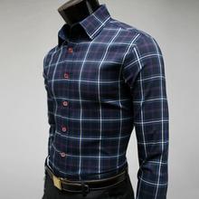 Striped Shirt Men Long Sleeve Fashion Plaid Shirts Mens Camisa Social Slim Fit Masculina Camisas Hombre Vetement Chemise Homme