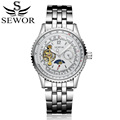 SEWOR 2017 New Luxury Casual Clock Men Automatic Watch Skeleton Business Watches Tourbillon Mechanical Relogio Male