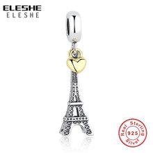 Buy 925 Sterling Silver PARIS EIFFEL TOWER PENDANT CHARM Gold Heart Charm fit Original Pandora Bracelet DIY Jewelry Accessories for $5.89 in AliExpress store