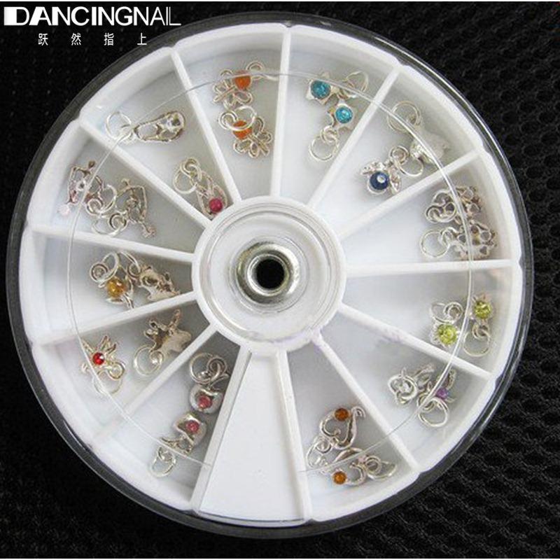 Fashion 24 Pcs Metallic Rhinestone Nail Art Designs Tools Acrylic Tips UV Gel Decorations Dangles Rings Wheel 12 Styles Hotting(China (Mainland))