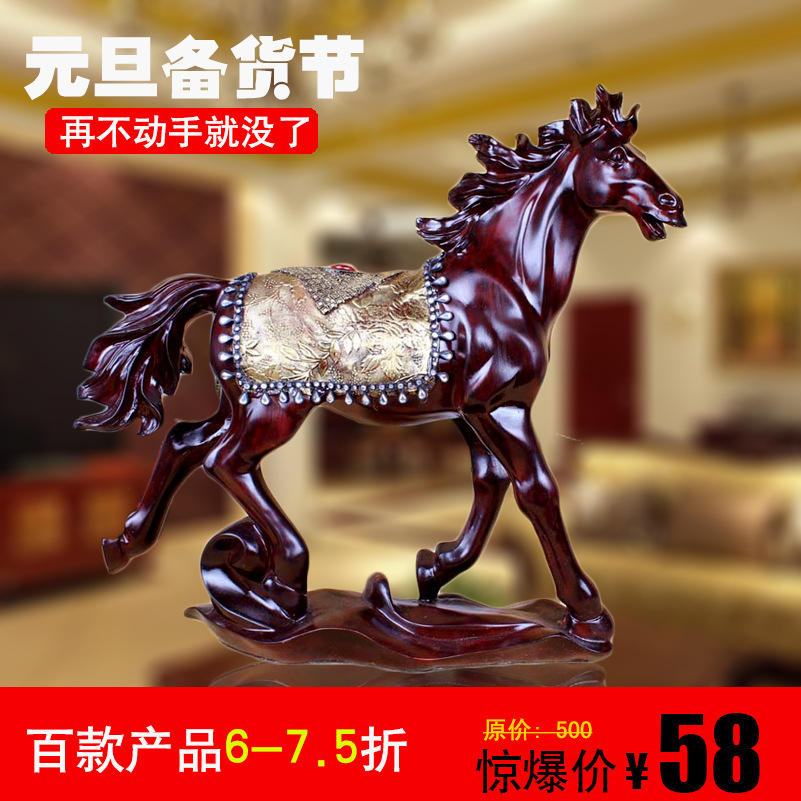 Chinese traditional craft Resin horse ornaments crafts rustic home accessories office decoration(China (Mainland))