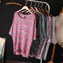 2015 Womens Large Size Batwing Sleeve T Shirt Female Loose Casual Round Neck Striped Tops Knitting Shirt For Women Spring Summer(China (Mainland))