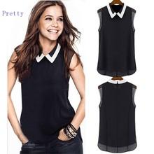 2014 New Korea blouses Women summer Plus Size Lady Rhinestone Embellished Collar Sleeveless Chiffon Tops Shirt b11