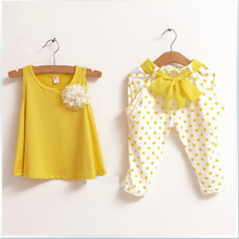 High Fashion 100% Cotton t-shirt and pant 2piece children clothing Dot Print Baby Girls Outfits Kids Clothes