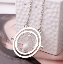 2015 New Silver Color Vintage Collar The Rotating Time Turner Necklace Hourglass Pendent  Necklace Best Jewelry Gift For Kids(China (Mainland))