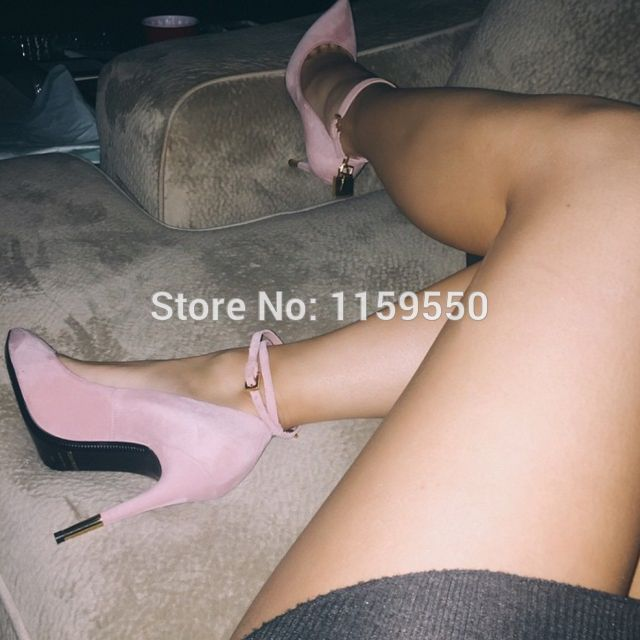 Pink Suede Leather Dress Pumps Pointed Toe Ankle Gold Lock High Heels Hot Sale Stiletto Brand Summer Lady Strappy Sandals<br><br>Aliexpress