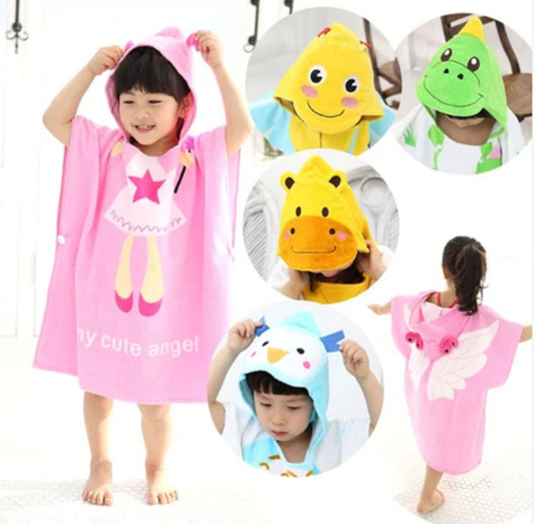 2016 Animal Kids Boys And Girls Cartoon Cotton Towels With Hood Baby Bath Towel Bathrobe For 0-6 Years Old Bath Care Newborn(China (Mainland))