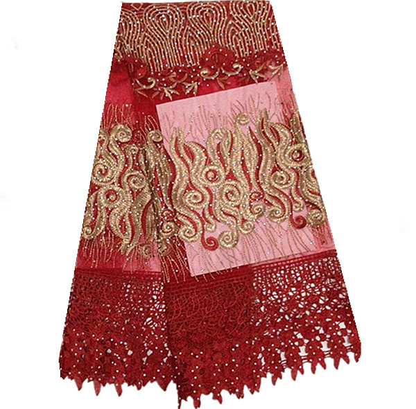 DZ50-2 red + goldBeautiful Polyester Chemical Lace French Guipure Net Lace And Cord With Stone Lowest Price(China (Mainland))