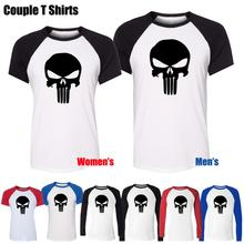 Simple Style Black Punisher Skull Marvel Design Printed T-Shirt Men's Boy's Graphic Tee Tops Blue or Black Sleeve