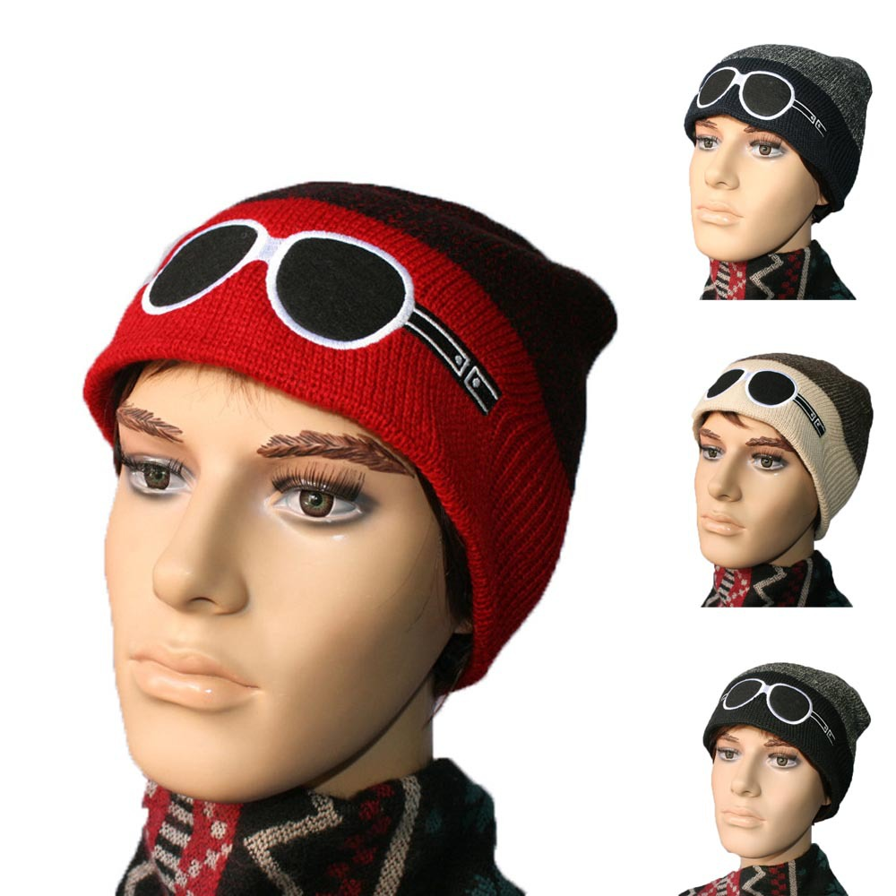 2015 New Funny Cartoon Embroidery Patchwork Knitted Woolen Hat Men Winter Warm Skull Beanies Unisex Novelty