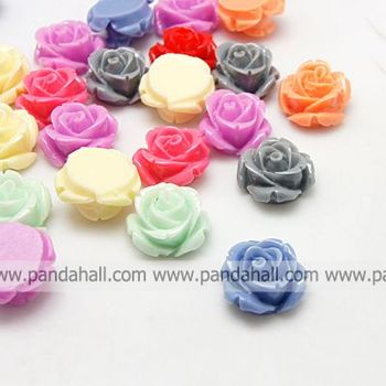 Opaque Resin Cabochons,  Flower,  Mixed Color,  15x7mm