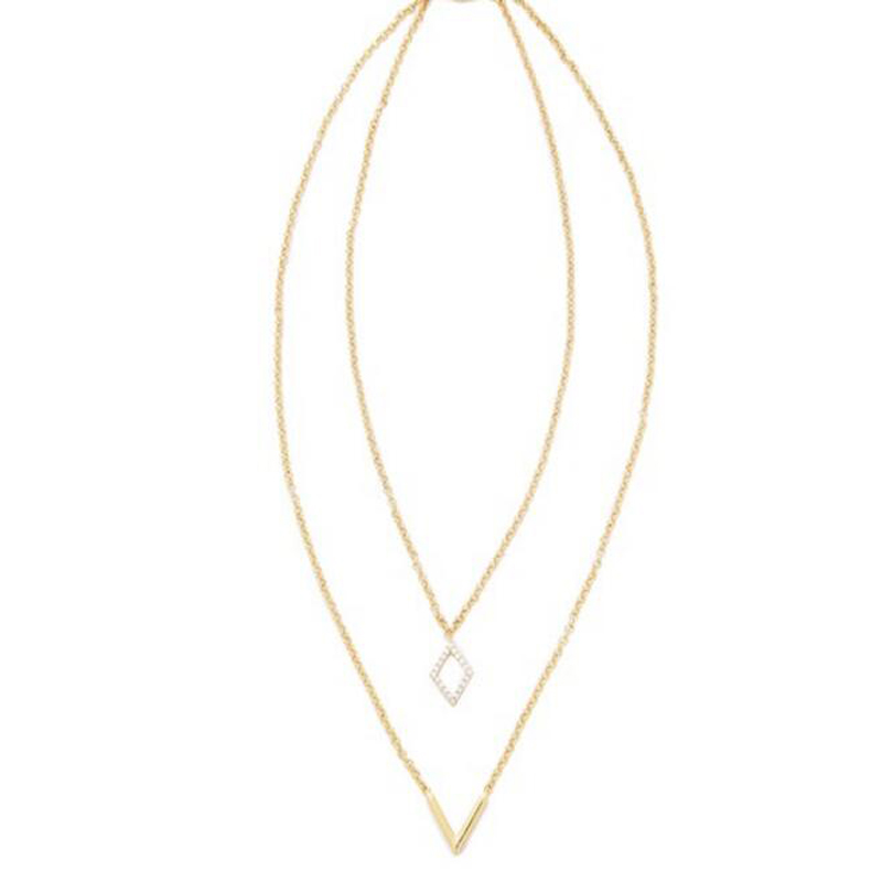 Shop Forever Jewelry 21 Bijoux Choker Necklaces Pendants 2 Layer Bop Triangle Rhombus 18 K Gold Plated For Women(China (Mainland))