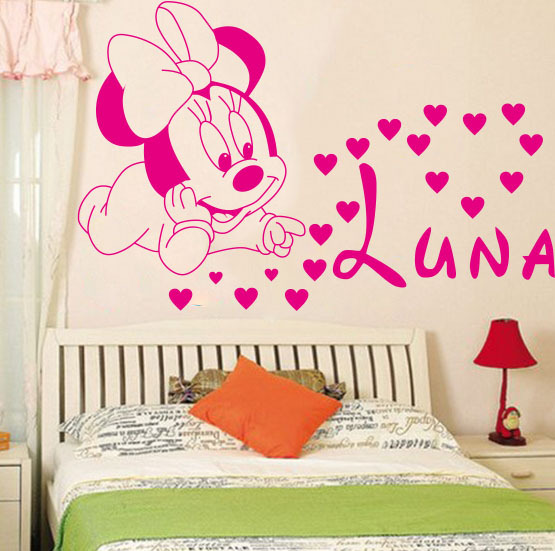 Creative DIY cute Mickey Mouse Minnie baby Custom Kids Name baby wall stickers for kids rooms home decoration wall stickers #T86