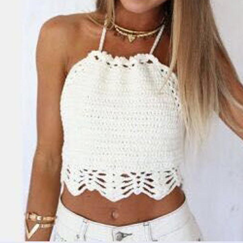 Summer style lace crop top camis sexy beach wear crochet top fitness vintage hollow out short halter top solid women clothing(China (Mainland))