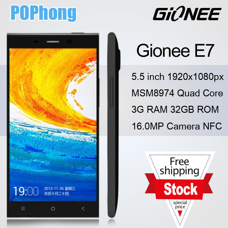 J Original Gionee E7 mobile phone 5.5 inch 1920x1080px Snapdragon 800 8974 2.2GHz 3G RAM 32G ROM 16.0MP(China (Mainland))