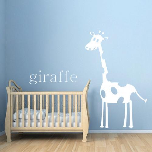 Giraffe Modern Nursery Art Print in Orange, Personalized Custom Animal Nursery Decor, Kids Wall Art 95*150CM Free shipping(China (Mainland))