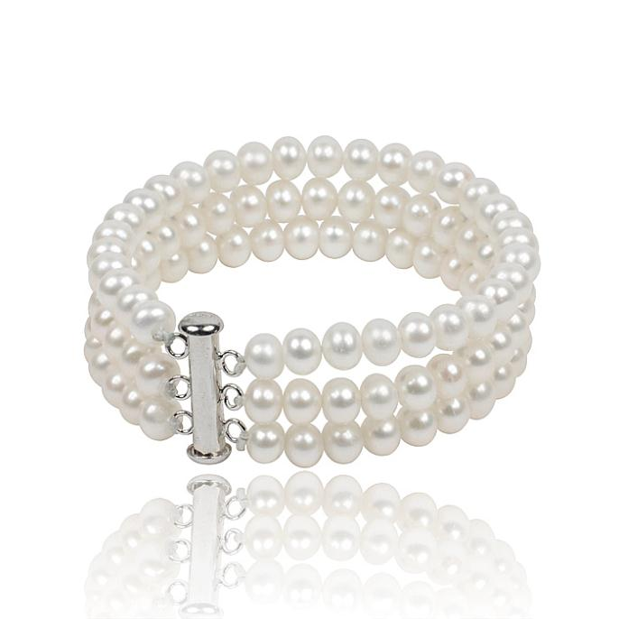 Three Strings Natural Pearl Bracelets, 6-7mm Oval White Freshwater Cultured Pearls, Good Gifts For Friends,Female Bracelet(China (Mainland))