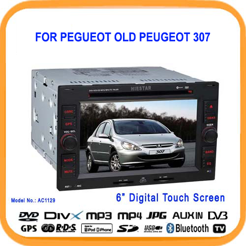 Car DVD Player for Old Peugeot 307 with GPS Navigation Radio TV Bluetooth Touch Screen Bluetooth Games(Hong Kong)