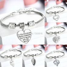 Family Gifts Mom Best Friend Grandmother Sister Bangle Bracelets Sweet Love Heart Charm Bracelet & Bangle For Women Girl(China (Mainland))