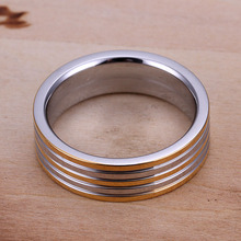 Lose Money Promotions Free Shipping Wholesale Sterling 925 silver ring 925 silver fashion jewelry Golden Stripe