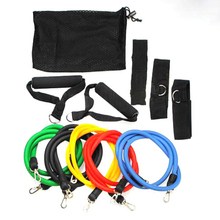 New 11PC Latex Resistance Bands Fitness Exercise Tube Training Pull Rope Set Yoga ABS Workout 1.2m Wholesale