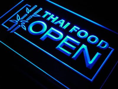 j705-b Thai Food OPEN Cafe Restaurant LED Neon Light Sign Wholesale Dropshipping On/ Off Switch 7 colors DHL
