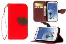 Элегантный прочный двойной цвет кожи карт бумажника флип магнитная застежка с шнурки стенд чехол для Samsung Galaxy S3 i9300