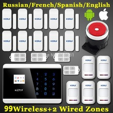 New 99 Wireless Zone Dual-network GSM PSTN SMS Call LCD Smart Dislay+Touch Keypad Quad Band Home Security Voice Burglar Alarm