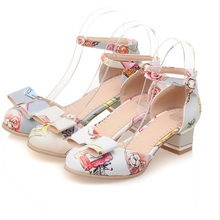 Buy Mary Janes Sweet Bow Round Toe Ankle Wrap Buckle Sandalias Big size 34-43 Square Heel Shoes Women Pumps Matching Shoes Bag for $26.10 in AliExpress store