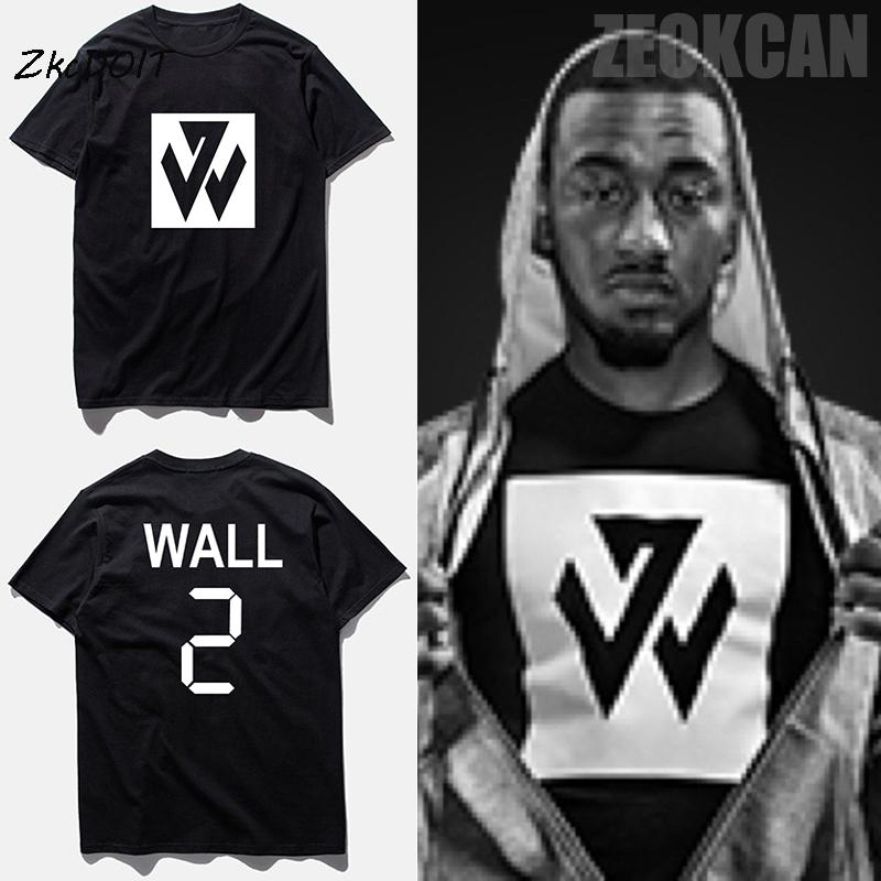 basketbal t shirt new brand cotton t-shirt men john wall jersey #2 tee shirts homme rap hip hop t shirts,tx2357(China (Mainland))