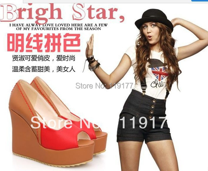 summer wedges women's ultra high heels fashion platform shoes open toe multicolour sandals soft pu leather candy color - Orange shopping mall store