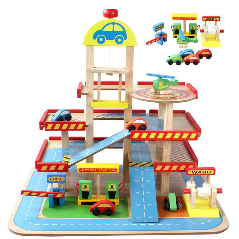 Diecasts Toy Vehicles Kids Toys Thomas train Toy Model Cars wooden puzzle Building slot track Rail transit Parking Garage 018