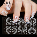 1pcs Hot 3D White Flower Lace Nail Adhesive Stickers Rhinestone Decals 16Designs Nail Art Sticker Tips