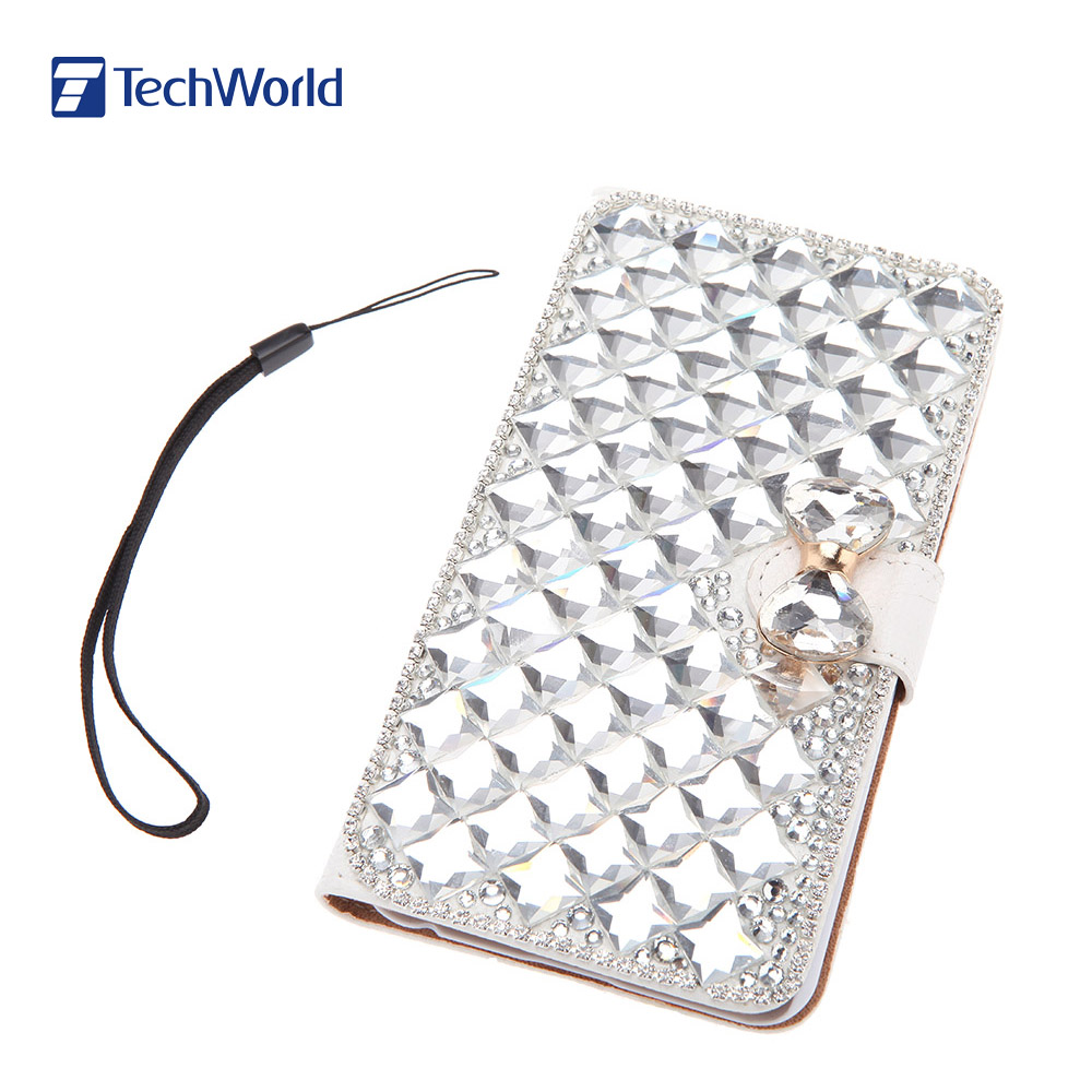 Rhinestone Diamond Flip Phone Case Cover Protective Cellphone Case Bling Bowknot with Card Holder String for iPhone 6 Plus(China (Mainland))