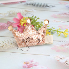 New Shiny Tiaras Hair Clip Kids Crown Headdress With Full Sequin Baby Lovely Head Barrettes Hair Accessories Child Hairpins