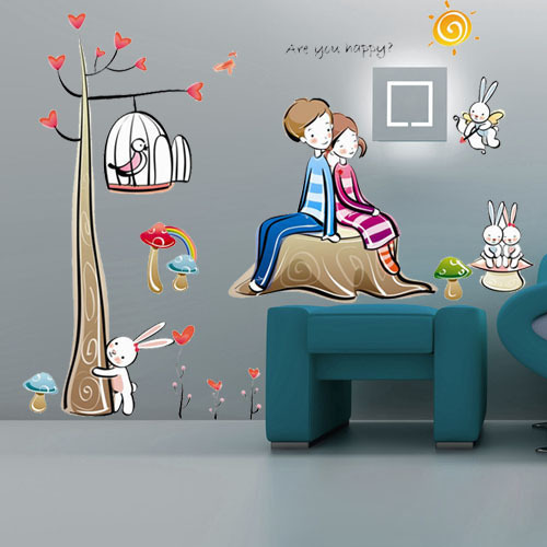 Free Shipping PVC Cartoon Children Room Bedroom Bedside Wall Stickers